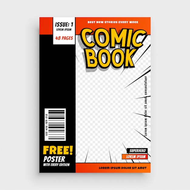Comic magazine book cover layout design Free Vector