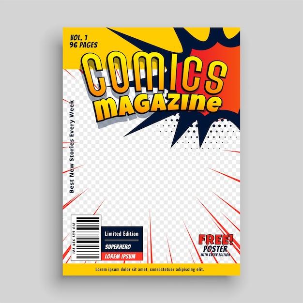 Дизайн шаблона обложки книги комиксов Бесплатные векторы