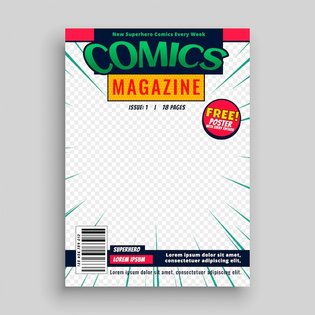 Comic magazine book front page template Free Vector
