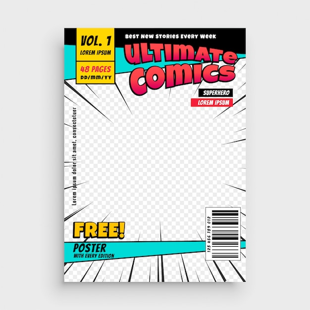 Comic magazine front page layout design Free Vector
