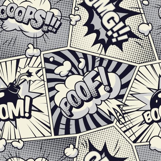 コミックモノクロシームレスパターン 無料ベクター