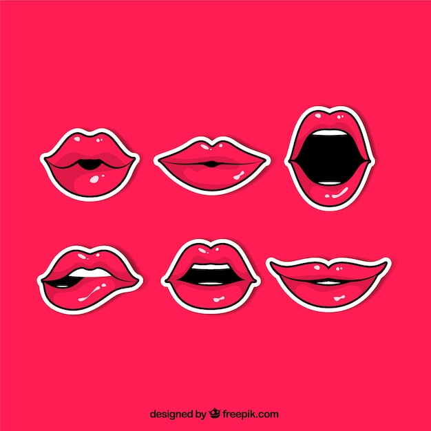 Comic pack of red lips stickers Free Vector