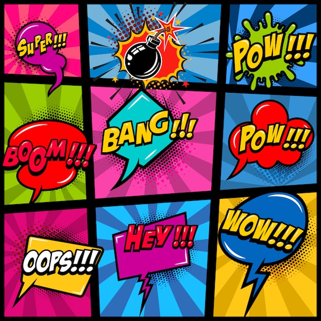 Comic page mockup with color background. pop art speech bubbles.  element for poster, card, print, banner, flyer.  image Premium Vector