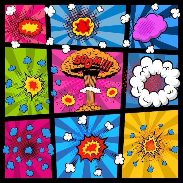異なる爆発の泡のコミックページのモックアップ。ポスター、印刷、カード、バナー、チラシの要素。画像 Premiumベクター