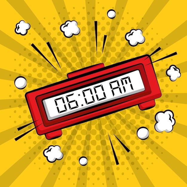 Comic pop art alarm clock digital yellow sunburst background Premium Vector