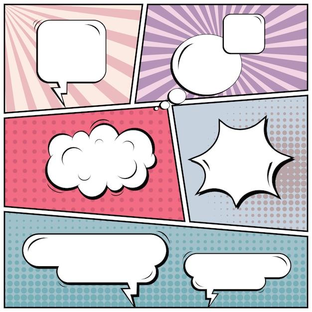 Comic pop art style blank background. Premium Vector