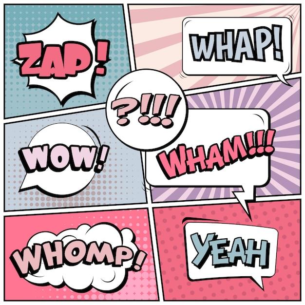 Comic pop art style blank background Premium Vector