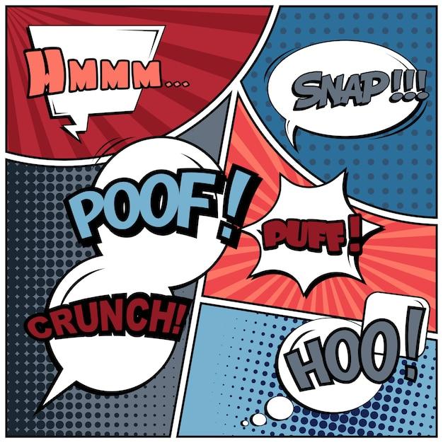 Comic pop art style blank. Premium Vector