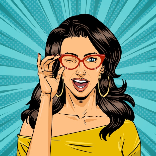 Comic pretty girl with gasses on halftone background Free Vector