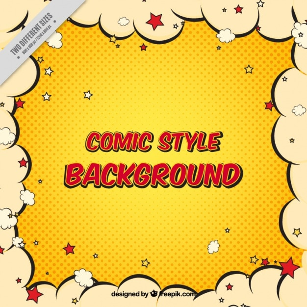 Free Comic Book Day Wallpaper: Comic Retro Background With Clouds Border Vector