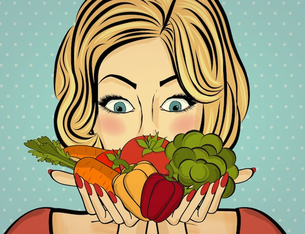 Comic scene with healthy food Free Vector