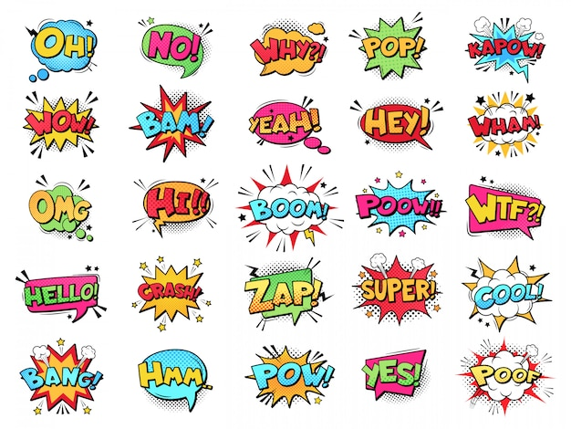 Comic speech bubble. cartoon comic book text clouds. comic pop art book pow, oops, wow, boom exclamation signs  comics words set. creative retro balloons with slang phrases and expressions Premium Vector