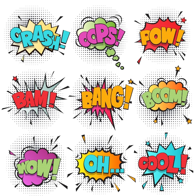 Comic speech bubble cartoon set Premium Vector