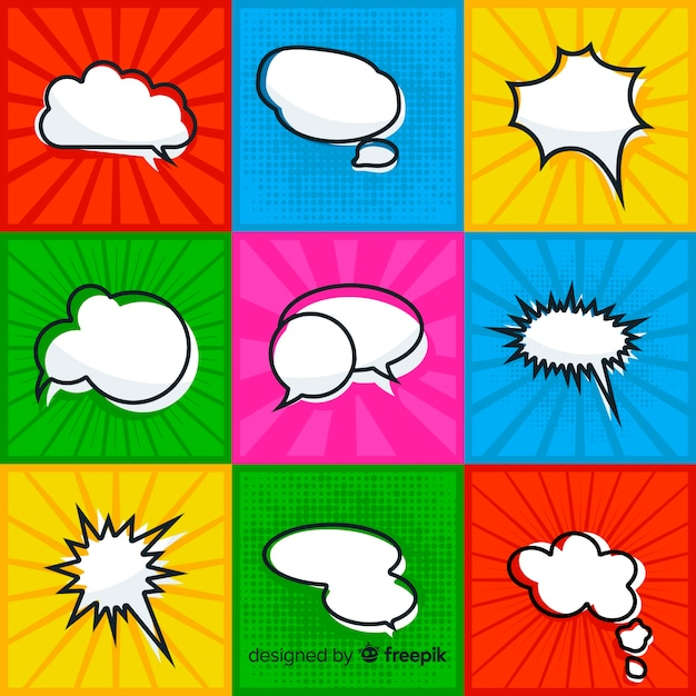 Comic speech bubble collection with colorful background Free Vector