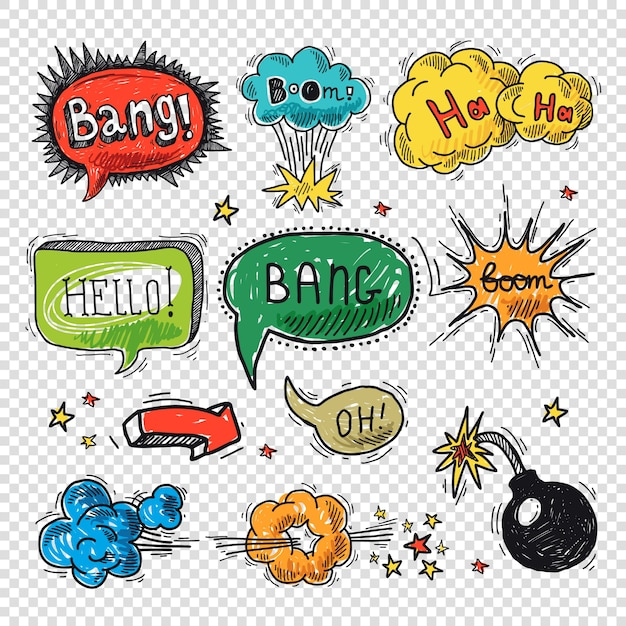 Comic speech bubble hand drawn design element symbol boom splash bomb vector illustration. Free Vector
