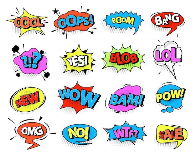 Comic speech bubble set with text Premium Vector