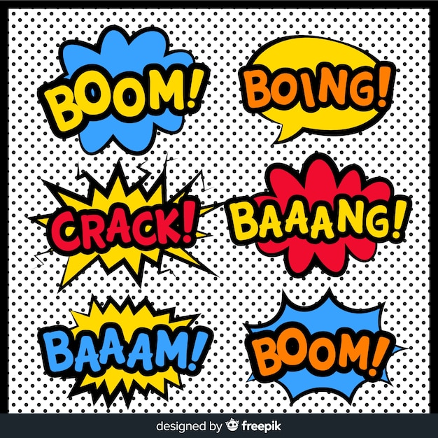 Comic speech bubble superhero collection Free Vector