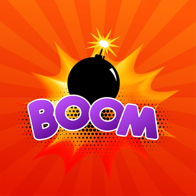 Comic speech bubble with burning bomb and text Free Vector
