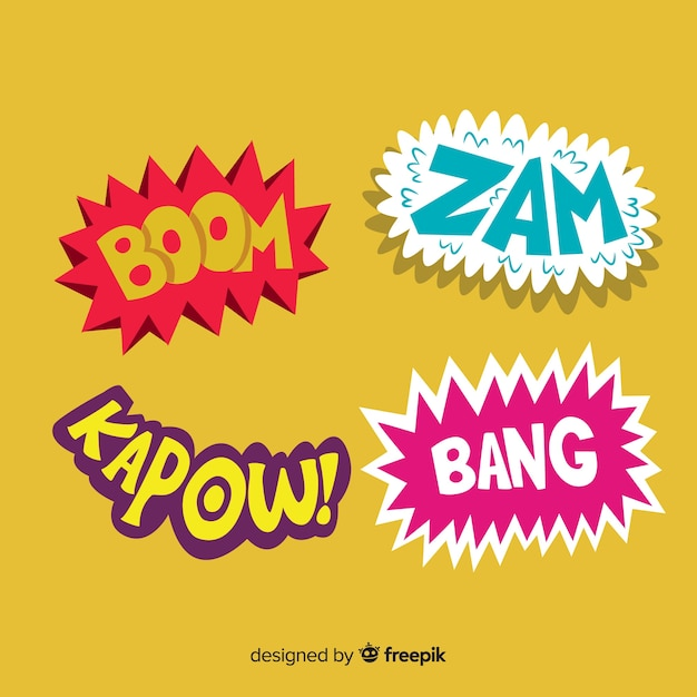 Comic Book Words Onomatopoeia Vector Free Download