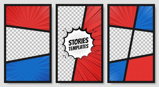 Comic speech bubbles. comic book page elements. comic clouds effects collection. vector graphic design illustration Premium Vector