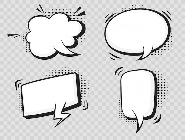 Comic speech bubbles on halftone transparent background. Premium Vector