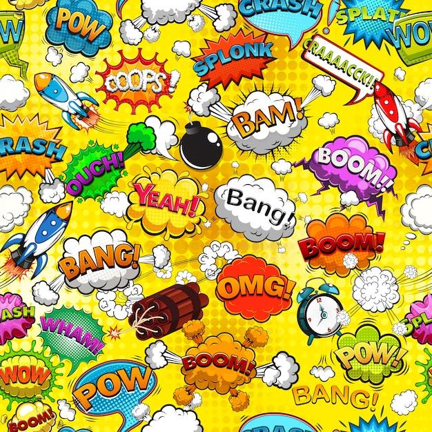 Comic speech bubbles seamless pattern on yellow background illustration Premium Vector