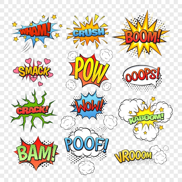 Набор комических речевых пузырей, изолированных на прозрачном фоне, векторная иллюстрация Бесплатные векторы