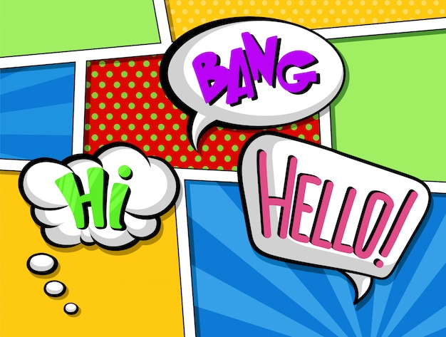 Premium Vector Comic Speech Bubbles With Text Set Colorful Cartoon Sound Effects Illustrations In Pop Art Style