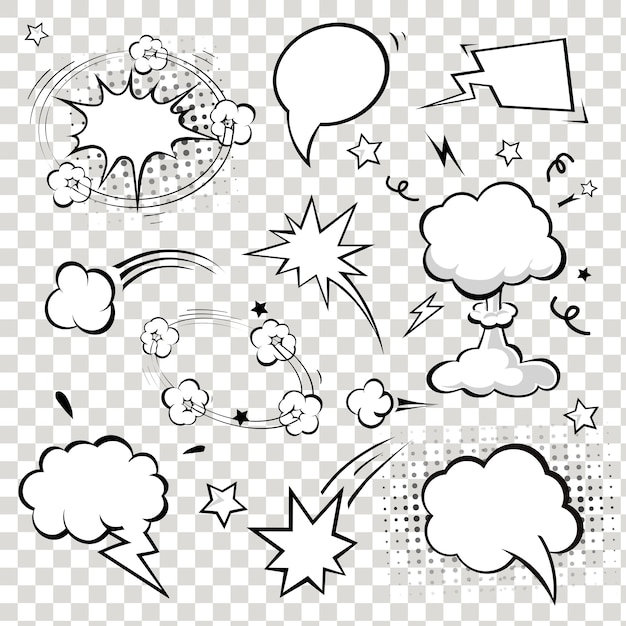 Comic speech bubbles. Premium Vector
