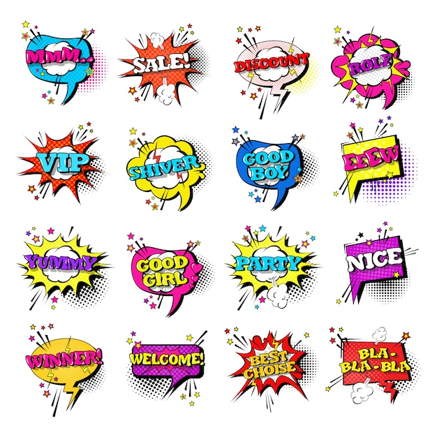 Comic speech chat bubble set pop art style sound expression text icons collection Premium Vector