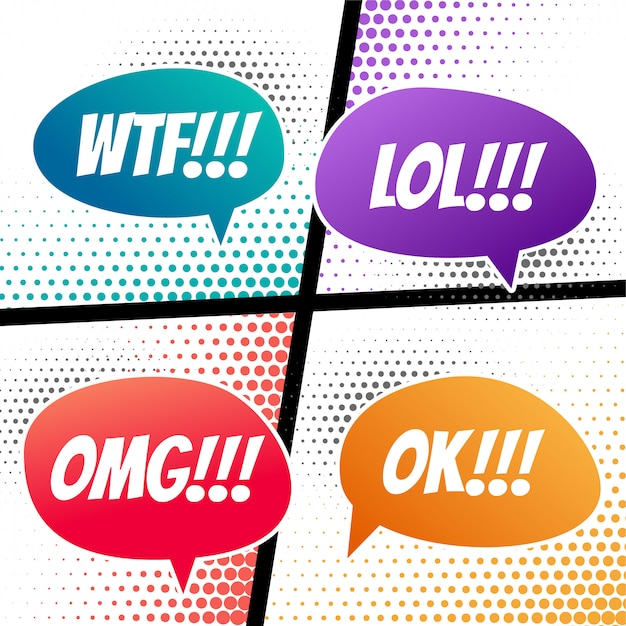 Comic speech dialog expressions bubble in different colors Free Vector