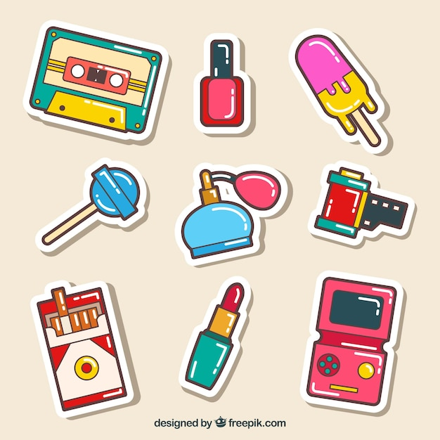 Comic stickers with fun style Free Vector