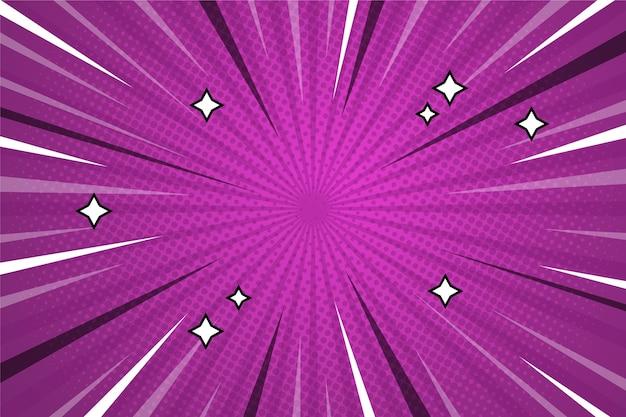 コミックスタイルの背景紫色と星 無料ベクター