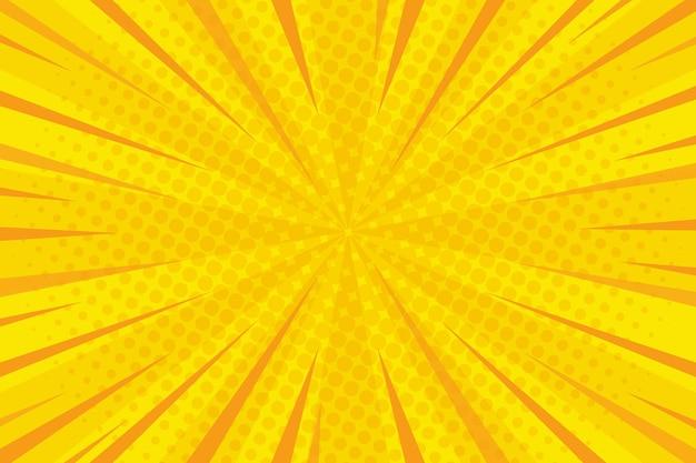 만화 스타일 배경 노란색 색과 점 프리미엄 벡터