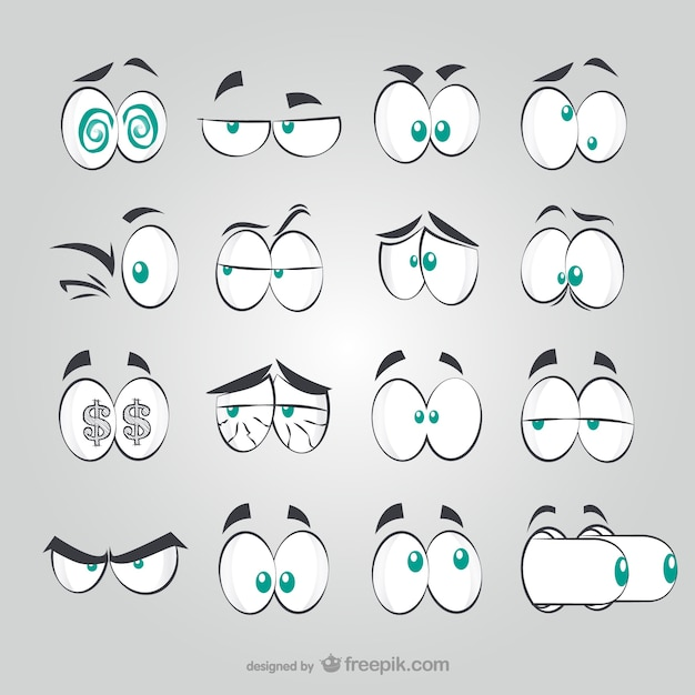 Comic style eyes Free Vector