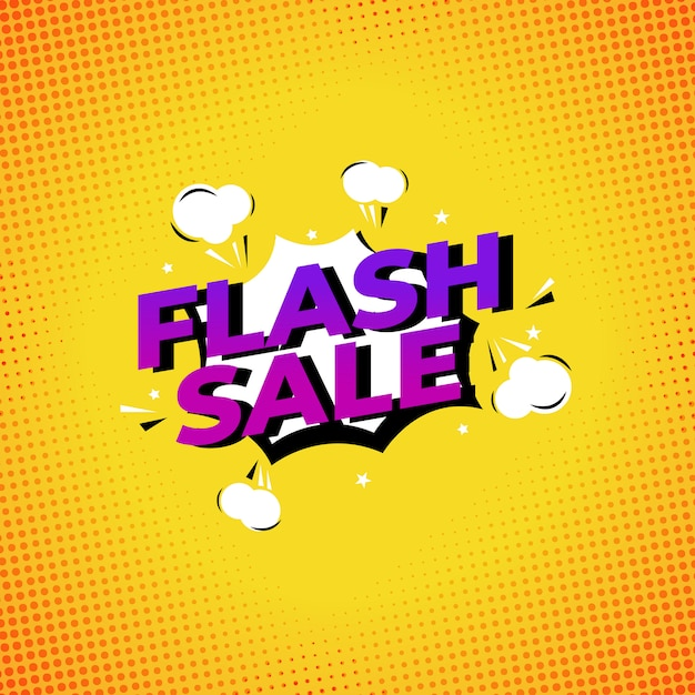 Comic style sale template Premium Vector