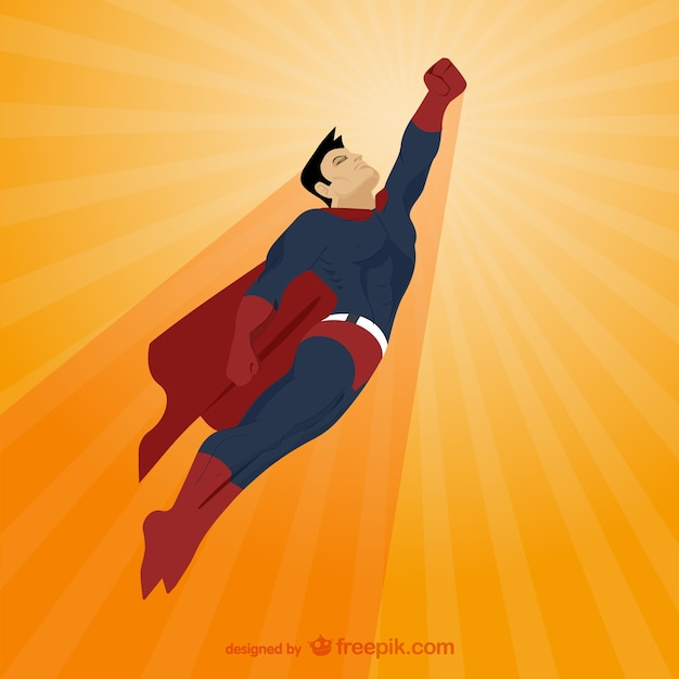 Comic style superhero illustration Free Vector