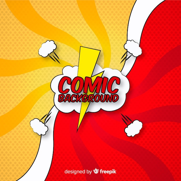 Comic or superhero background in halftone style Free Vector