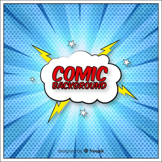 Free Comic Book Day Flyer: Comic Or Superhero Background In Halftone Style Vector