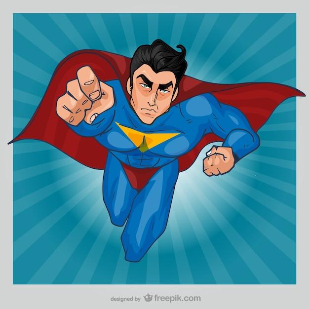 Comic superhero flying Free Vector