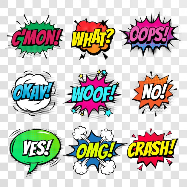 Comic text bubbles isolated icons set Premium Vector