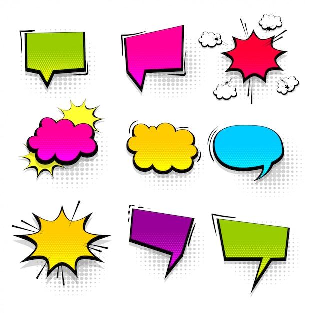 Comic text collection speech bubble in pop art style. Premium Vector