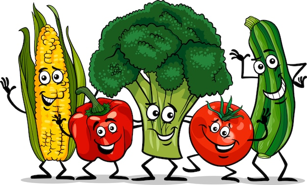 Premium Vector | Comic vegetables group cartoon illustration