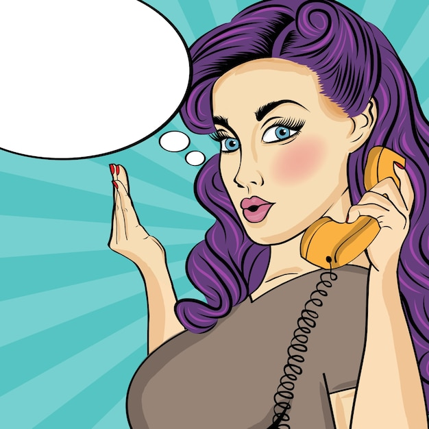 Comic woman with retro phone Free Vector