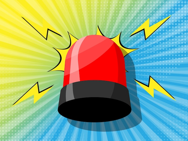 Comic zoom background with siren light Premium Vector