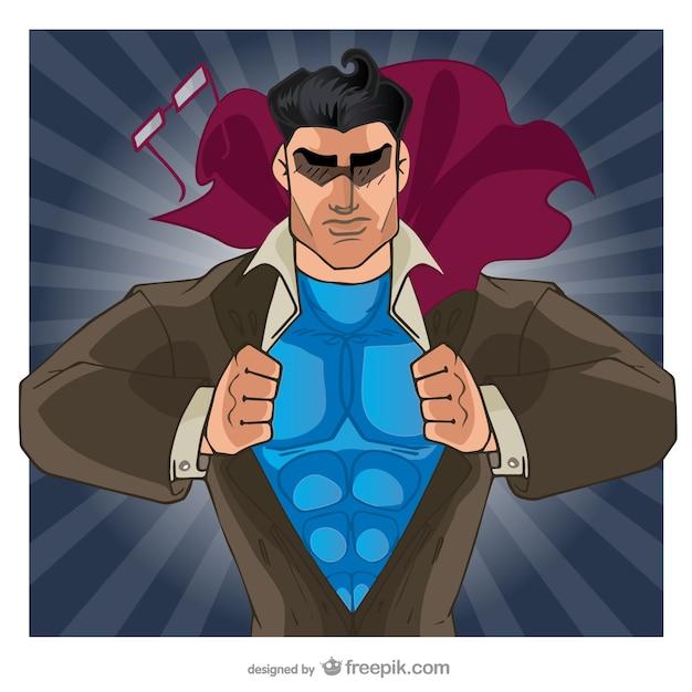 Comic супергерой открытие его рубашку Бесплатные векторы