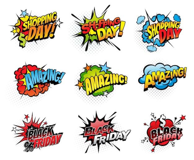 Комиксы пузыри на день покупок и черную пятницу Premium векторы