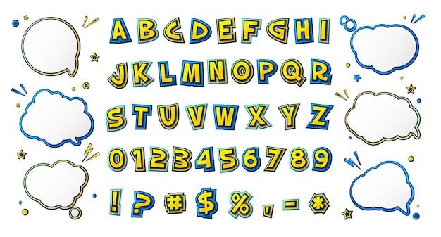 Комикс шрифт, мультяшный алфавит в стиле поп-арт. Premium векторы