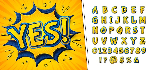 Comics font. cartoonish yellow-blue alphabet and yes on speech bubble Premium Vector