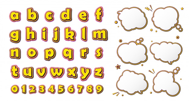 コミックフォント、漫画のような黄色ピンクのアルファベットと吹き出しのセット Premiumベクター